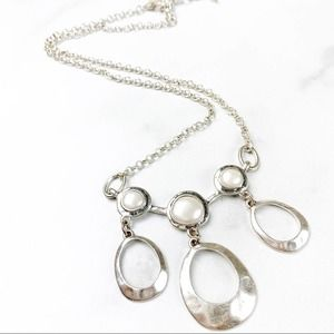 Lucky Brand Necklace Silver Pearl Pendant Boho NEW